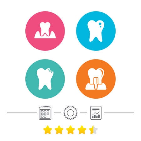 Dental care icons. Caries tooth sign. Tooth endosseous implant symbol. Parodontosis gingivitis sign. Calendar, cogwheel and report linear icons. Star vote ranking. Vector