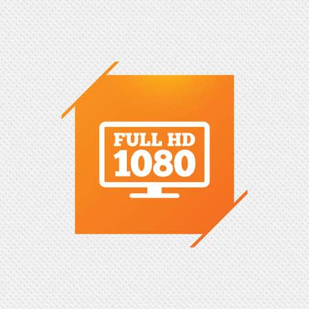 full hd: Full hd widescreen tv sign icon. 1080p symbol. Orange square label on pattern. Vector Illustration