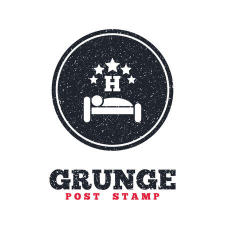 sleeper: Grunge post stamp. Circle banner or label. Five star Hotel apartment sign icon. Travel rest place. Sleeper symbol. Dirty textured web button. Vector