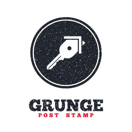 dirty house: Grunge post stamp. Circle banner or label. Key from the house sign icon. Unlock tool symbol. Dirty textured web button. Vector