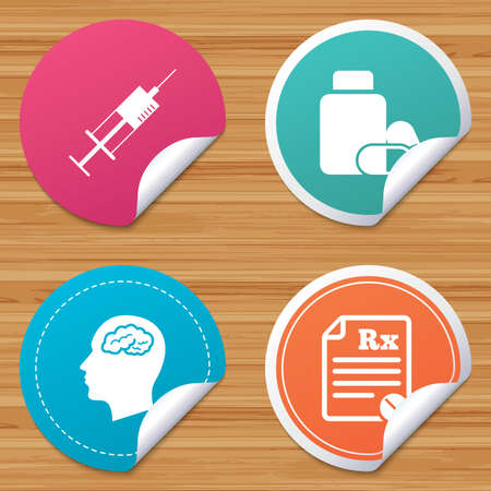 rx: Round stickers or website banners. Medicine icons. Medical tablets bottle, head with brain, prescription Rx and syringe signs. Pharmacy or medicine symbol. Circle badges with bended corner. Vector
