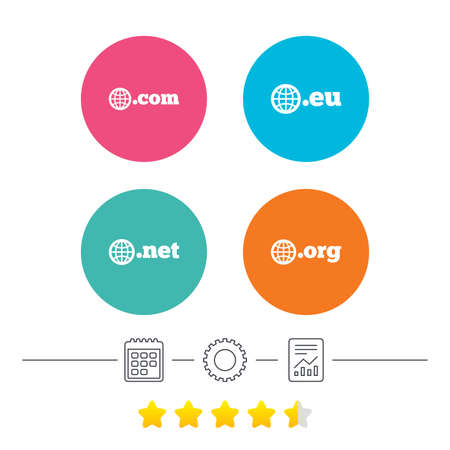 dns: Top-level internet domain icons. Com, Eu, Net and Org symbols with globe. Unique DNS names. Calendar, cogwheel and report linear icons. Star vote ranking. Vector