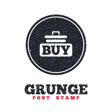 Grunge post stamp. Circle banner or label. Buy sign icon. Online buying cart button. Dirty textured web button. Vector Illustration