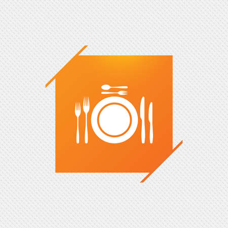 flatwares: Plate dish with forks and knifes. Dessert trident fork with teaspoon. Eat sign icon. Cutlery etiquette rules symbol. Orange square label on pattern. Vector