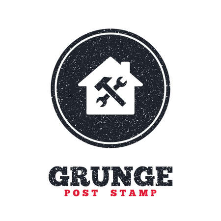 dirty house: Grunge post stamp. Circle banner or label. Service house. Repair tool sign icon. Service symbol. Hammer with wrench. Dirty textured web button. Vector