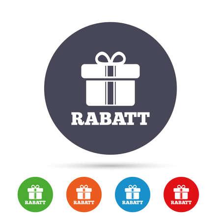 Rabatt - Rabatte in deutschen Zeichen Symbol. Geschenkbox mit Bändern-Symbol. Runde bunte Knöpfe mit flachen Ikonen. Vektor Standard-Bild - 70142682