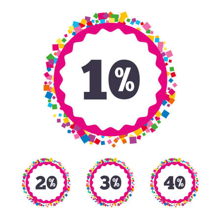 Web buttons with confetti pieces. Sale discount icons. Special offer price signs. 10, 20, 30 and 40 percent off reduction symbols. Bright stylish design. Vector Illustration