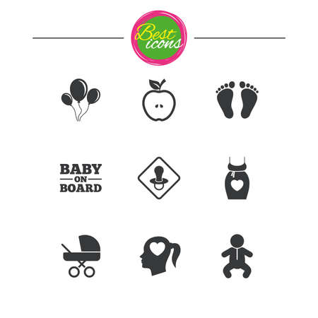 Pregnancy, maternity and baby care icons. Air balloon, baby carriage and pacifier signs. Footprint, apple and newborn symbols. Classic simple flat icons. Vector