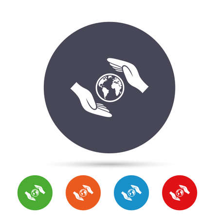 peace stamp: Worldwide insurance sign icon. Hands protect cover planet symbol. Travel insurance. World peace. Round colourful buttons with flat icons. Vector