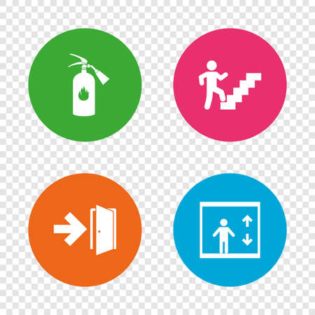 Emergency exit icons. Fire extinguisher sign. Elevator or lift symbol. Fire exit through the stairwell. Round buttons on transparent background. Vector