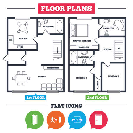 Architecture plan with furniture. House floor plan. Automatic door icon. Emergency exit with human figure and arrow symbols. Fire exit signs. Kitchen, lounge and bathroom. Vector