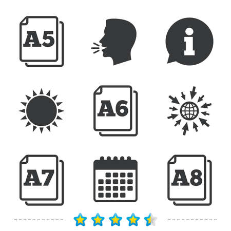 a7: Paper size standard icons. Document symbols. A5, A6, A7 and A8 page signs. Information, go to web and calendar icons. Sun and loud speak symbol. Vector Illustration