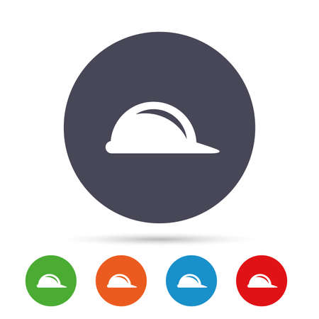 Hard hat sign icon. Construction helmet symbol. Round colourful buttons with flat icons. Vector