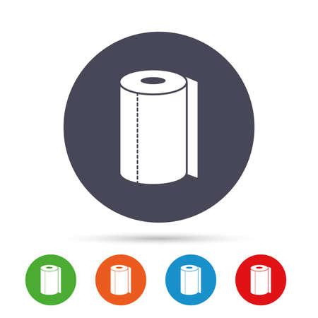 Papier Handtuch Zeichen Symbol. Küchenrollensymbol. Runde bunte Knöpfe mit flachen Ikonen. Vektor