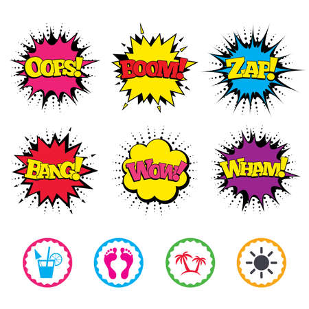 Comic Wow, Oops, Boom and Wham sound effects. Beach holidays icons. Cocktail, human footprints and palm trees signs. Summer sun symbol. Zap speech bubbles in pop art. Vector Illustration
