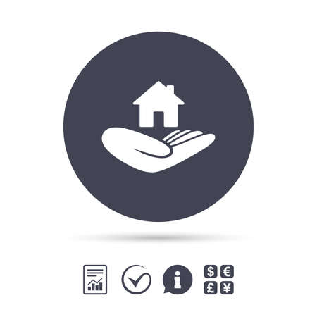 house exchange: House insurance sign. Hand holds home symbol. Insurance of property. Report document, information and check tick icons. Currency exchange. Vector