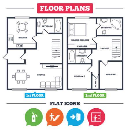 家具と建築の計画。家の平面図。非常口アイコン。消火器標識です。エレベーターやリフトの記号です。吹き抜けを通して火出口。キッチン、ラウ