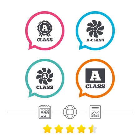 energy ranking: A-class award icon. A-class ventilation sign. Premium level symbols. Calendar, internet globe and report linear icons. Star vote ranking. Vector