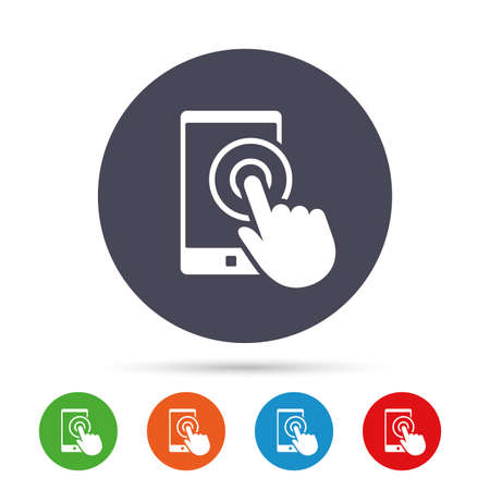 touch: Touch screen smartphone sign icon. Hand pointer symbol. Round colourful buttons with flat icons. Vector Illustration