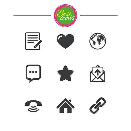 hyperlink: Mail, contact icons. Favorite, like and internet signs. E-mail, chat message and phone call symbols. Classic simple flat icons. Vector Illustration