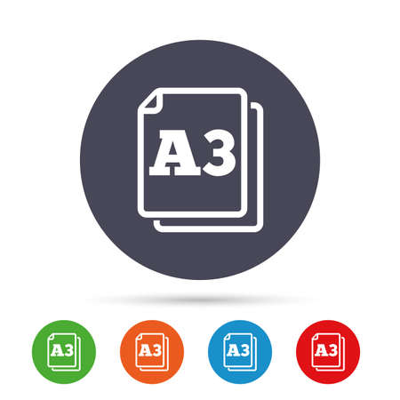 a3: Paper size A3 standard icon. File document symbol. Round colourful buttons with flat icons. Vector Illustration