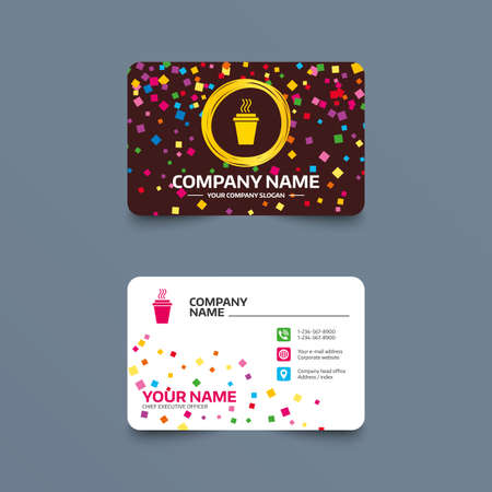 take away: Business card template with confetti pieces. Take a Coffee sign icon. Hot Coffee cup. Phone, web and location icons. Visiting card  Vector Illustration