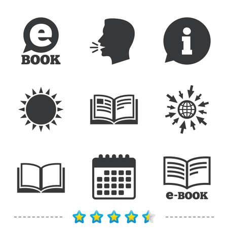 viewer: Electronic book icons. E-Book symbols. Speech bubble sign. Information, go to web and calendar icons. Sun and loud speak symbol. Vector