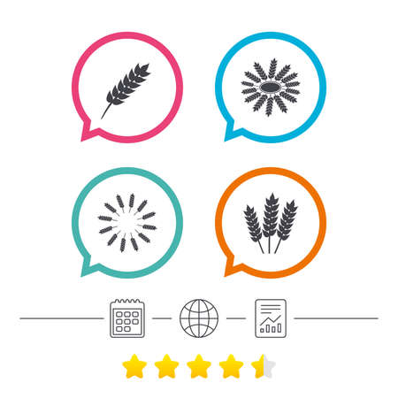 corn stalk: Agricultural icons. Gluten free or No gluten signs. Wreath of Wheat corn symbol. Calendar, internet globe and report linear icons. Star vote ranking. Vector