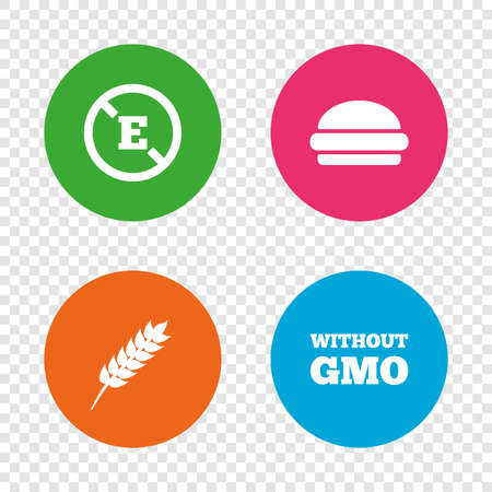 modified: Food additive icon. Hamburger fast food sign. Gluten free and No GMO symbols. Without E acid stabilizers. Round buttons on transparent background. Vector