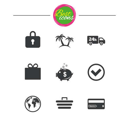 bank cart: Online shopping, e-commerce and business icons. Credit card, gift box and protection signs. Piggy bank, delivery and tick symbols. Classic simple flat icons. Vector