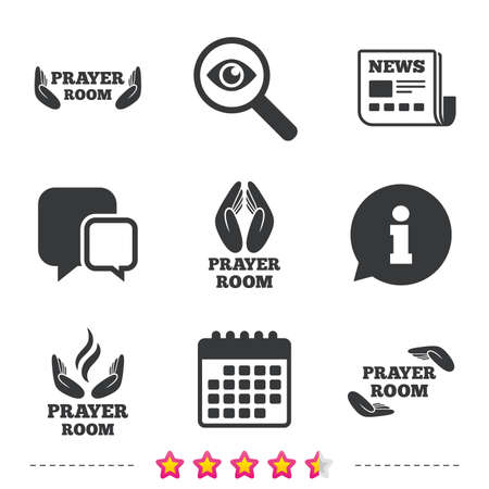 chat room: Prayer room icons. Religion priest faith symbols. Pray with hands. Newspaper, information and calendar icons. Investigate magnifier, chat symbol. Vector
