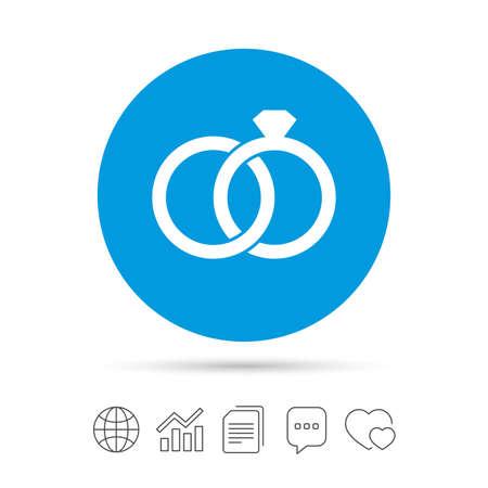Wedding Rings Sign Icon Engagement Symbol Calendar Chat Speech