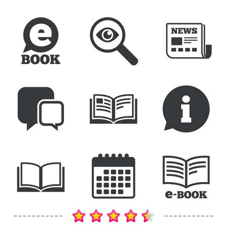 news reader: Electronic book icons. E-Book symbols. Speech bubble sign. Newspaper, information and calendar icons. Investigate magnifier, chat symbol. Vector