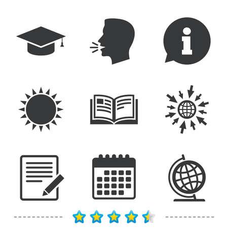 Crayon avec des icônes de document et livre ouvert. Cap de graduation et symboles de globe de géographie. Apprendre des signes. Informations, allez sur le web et les icônes de calendrier. Soleil et symbole de parler fort. Vecteur Banque d'images - 70142227