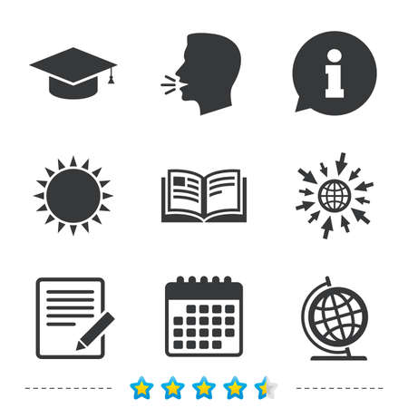 Pencil with document and open book icons. Graduation cap and geography globe symbols. Learn signs. Information, go to web and calendar icons. Sun and loud speak symbol. Vector