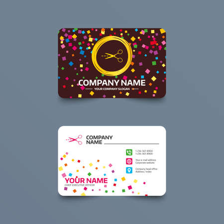 snip: Business card template with confetti pieces. Scissors with cut dash dotted line sign icon. Tailor symbol. Phone, web and location icons. Visiting card  Vector
