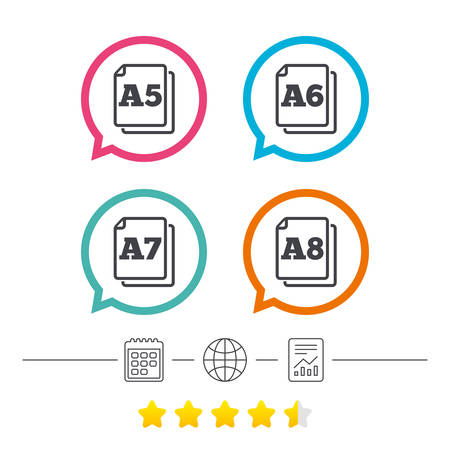 a7: Paper size standard icons. Document symbols. A5, A6, A7 and A8 page signs. Calendar, internet globe and report linear icons. Star vote ranking. Vector