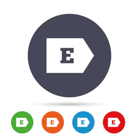 consumption: Energy efficiency class E sign icon. Energy consumption symbol. Round colourful buttons with flat icons. Vector