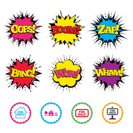 house for sale: Comic Wow, Oops, Boom and Wham sound effects. For sale icons. Real estate selling signs. Home house symbol. Zap speech bubbles in pop art. Vector