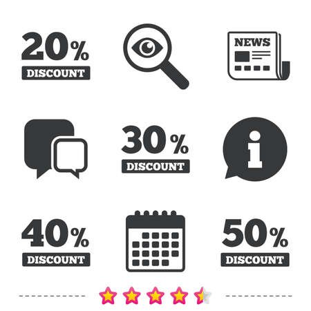 Sale discount icons. Special offer price signs. 20, 30, 40 and 50 percent off reduction symbols. Newspaper, information and calendar icons. Investigate magnifier, chat symbol. Vector