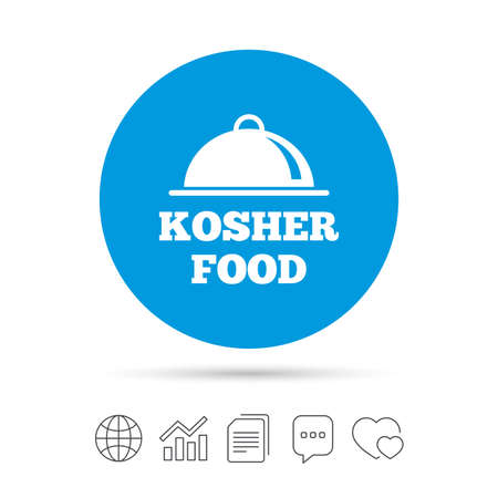 yiddish: Kosher food product sign icon. Natural Jewish food with platter serving symbol. Copy files, chat speech bubble and chart web icons. Vector
