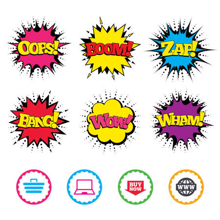 Comic Wow, Oops, Boom and Wham sound effects. Online shopping icons. Notebook pc, shopping cart, buy now arrow and internet signs. WWW globe symbol. Zap speech bubbles in pop art. Vector