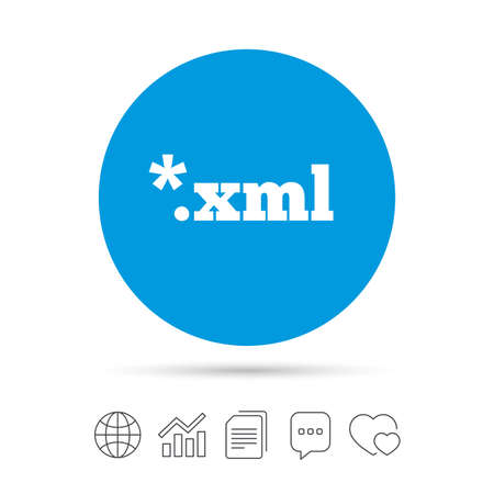 xml: File document icon. Download XML button. XML file extension symbol. Copy files, chat speech bubble and chart web icons. Vector Illustration