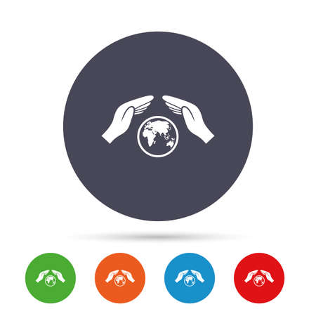 peace stamp: Worldwide insurance sign icon. Hands protect cover symbol. Travel insurance. World peace. Save planet. Round colourful buttons with flat icons. Vector