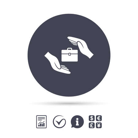 exchange loss: Baggage insurance sign icon. Travel luggage symbol. Travel insurance. Report document, information and check tick icons. Currency exchange. Vector