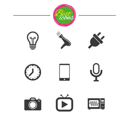 Home appliances, device icons. Electronics signs. Lamp, electrical plug and photo camera symbols. Classic simple flat icons. Vector