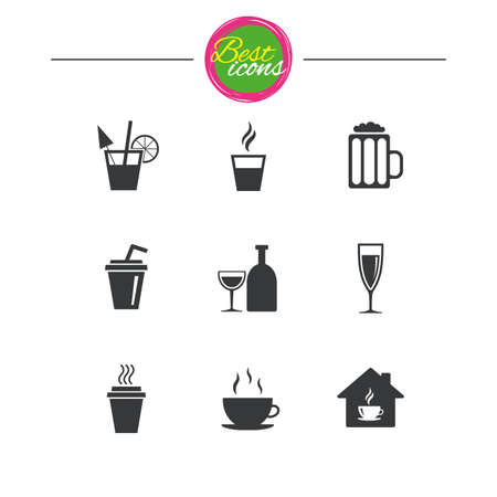 take away: Tea, coffee and beer icons. Beer, wine and cocktail signs. Take away drinks. Classic simple flat icons. Vector