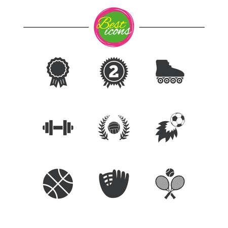 rulos: Juegos de deporte, iconos de fitness. Signos de fútbol, ??baloncesto y voleibol. Mancuerna, béisbol y símbolos de premio ganador. Iconos planos simples clásicos. Vector