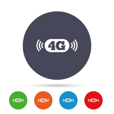 4g: 4G sign icon. Mobile telecommunications technology symbol. Round colourful buttons with flat icons. Vector