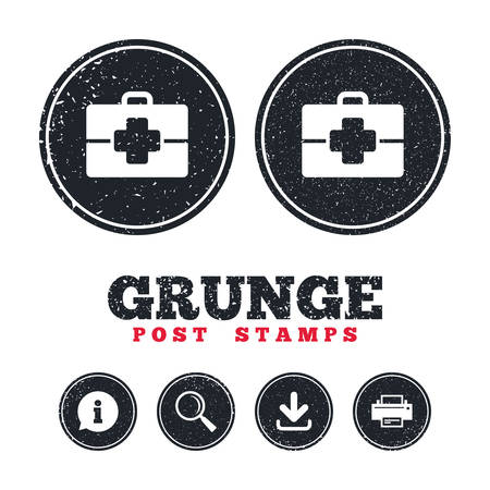medical case: Grunge post stamps. Medical case sign icon. Doctor symbol. Information, download and printer signs. Aged texture web buttons. Vector